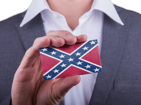 confederacy: Businessman showing card, matte paper effect, Battle flag of the US Confederacy
