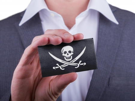 matte: Businessman showing card, matte paper effect, Pirate