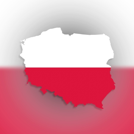 Poland map with the flag inside, isolated Stock Photo - 17733814