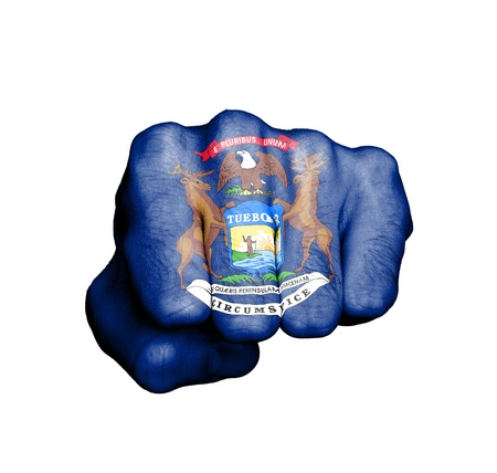 United states, fist with the flag of a state, Michigan Stock Photo - 17733993