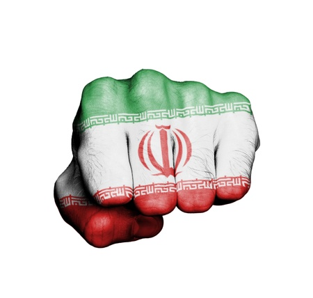 Front view of punching fist, banner of Iran