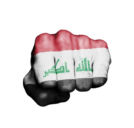 iraq conflict: Front view of punching fist, banner of Iraq