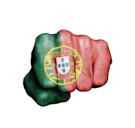 Front view of punching fist, banner of Portugal