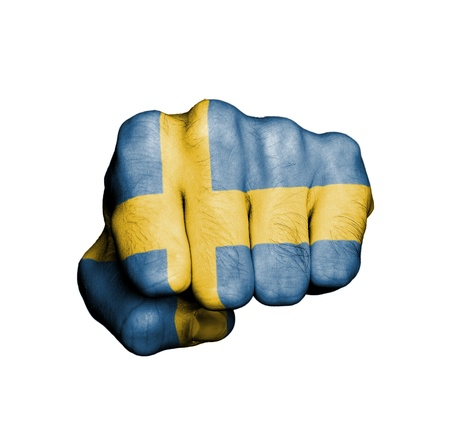 Front view of punching fist, banner of Sweden Stock Photo - 17734023