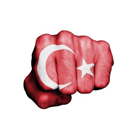 Front view of punching fist, banner of Turkey Banco de Imagens