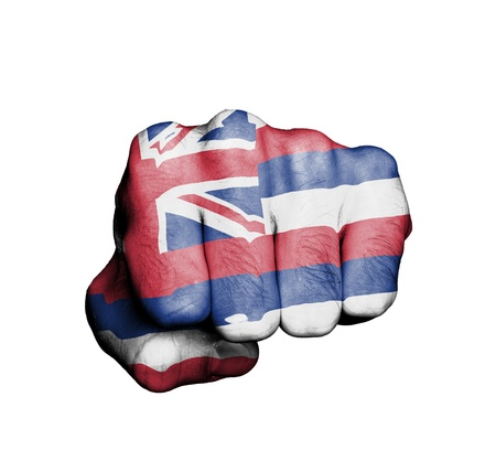 United states, fist with the flag of a state, Hawai