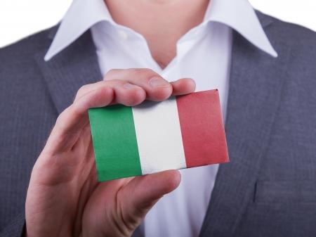 matte: Businessman showing card, matte paper effect, Italy