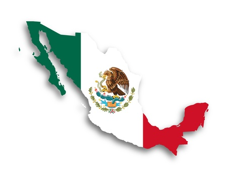 Map of Mexico filled with flag, isolated photo