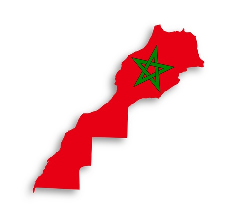 morocco: Morocco map with the flag inside, isolated