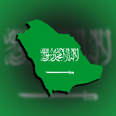 Saudi arabia map filled with flag, isolated photo