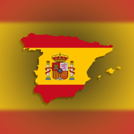 paraphernalia: Spain map with the flag inside, isolated