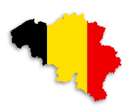 Flag and country border line of belgium, isolated photo