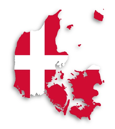denmark: Map of Denmark filled with flag of the state, isolated Stock Photo