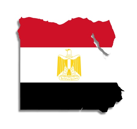 Egyptian map filled with their flag, isolated photo
