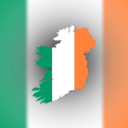 Map of Ireland with flag inside, isolated photo