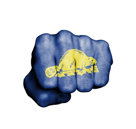 state of oregon: United states, fist with the flag of a state, Oregon Stock Photo