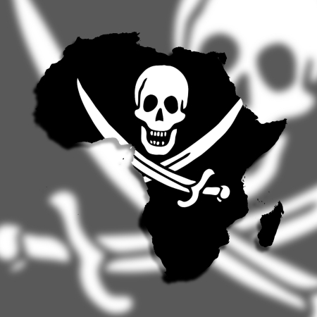 Map of Africa filled with a pirate flag, isolated Stock Photo - 17783550