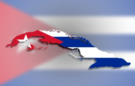 Map of Cuba filled with flag, isolated photo