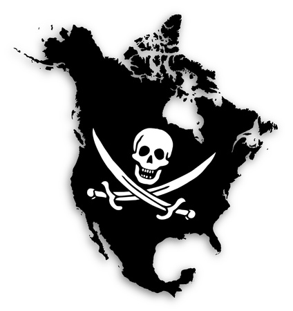 pirate banner: Map of North America filled with a pirate flag, isolated
