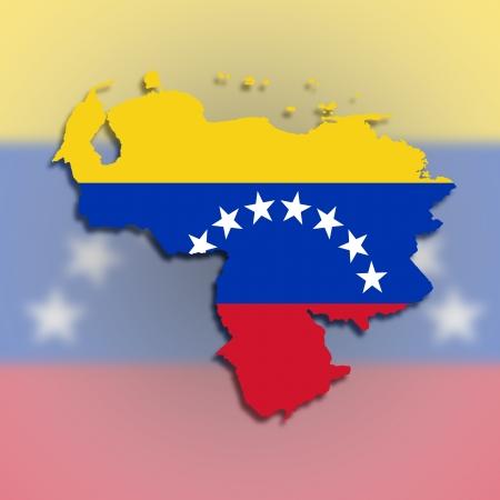 Venezuela map with the flag inside, isolated photo