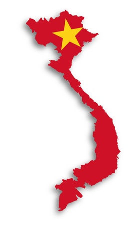 Map of Vietnam filled with flag, isolated photo