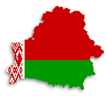 Map of Belarus filled with flag, isolated photo