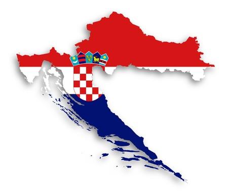 flag croatia: Mapa de Croacia llenado de la bandera, aislado Foto de archivo