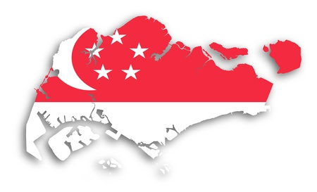 Map of Singapore filled with flag, isolated Editorial