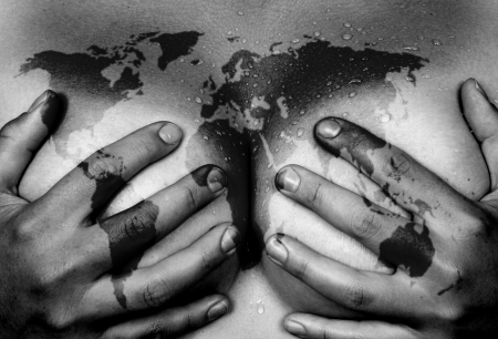 asia nude: Sweaty upper part of female body, hands covering breasts, world map Stock Photo