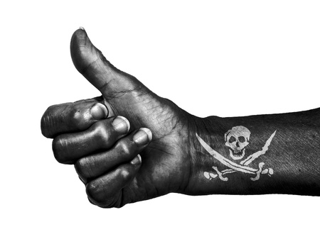 Old woman with arthritis giving the thumbs up sign, isolated on white, Pirate Stock Photo - 17783694
