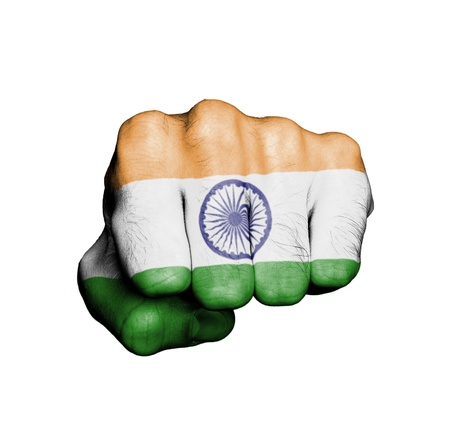 Front view of punching fist, banner of India photo