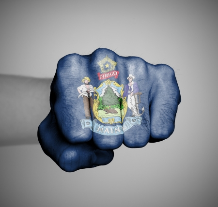 maine: United states, fist with the flag of a state, Maine Stock Photo