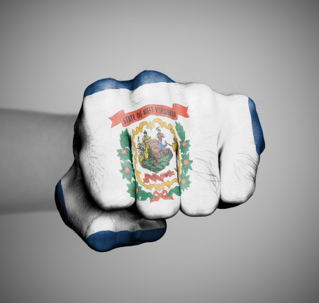 United states, fist with the flag of a state, West Virginia Stock Photo - 17783707