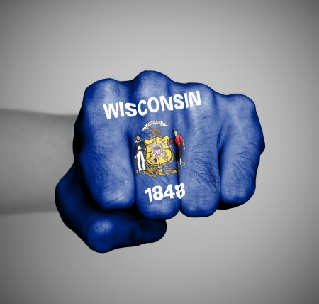 wisconsin flag: United states, fist with the flag of a state, Wisconsin
