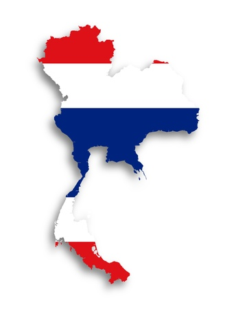Map of Thailand filled with flag, isolated photo