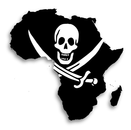 Map of Africa filled with a pirate flag, isolated photo