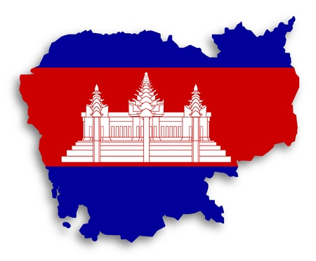 paraphernalia: Map of Cambodia filled with flag, isolated Stock Photo