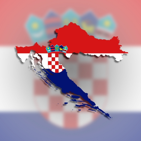 Map of Croatia filled with flag, isolated photo