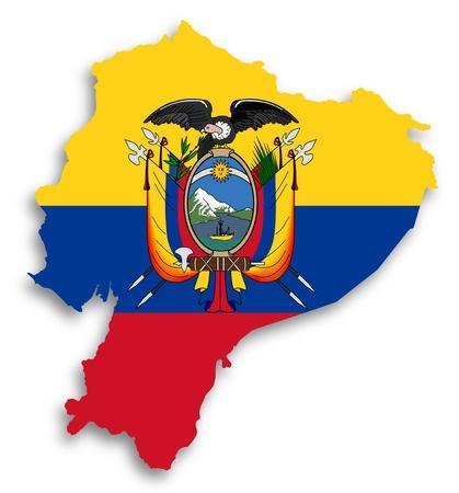 Karte von Ecuador mit Fahne gefüllt, isoliert Standard-Bild - 17783697