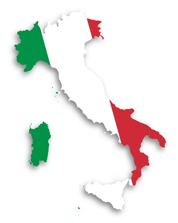 Map of Italy filled with flag, isolated photo