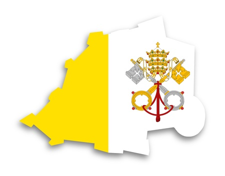 Map of Vatican City filled with flag, isolated