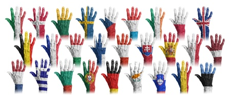 Hands with flag painting of the EU-coutries, isolated Stock Photo - 17911967