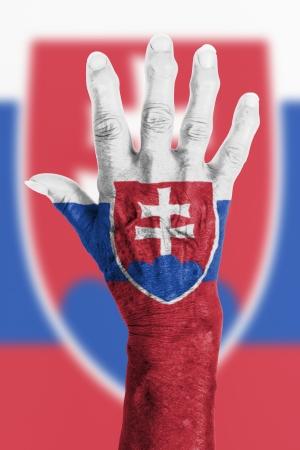 Isolated old hand with flag, European Union, Slovakia