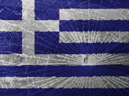 differential: Isolated broken glass or ice with a flag, Greece Stock Photo