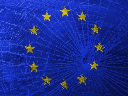 differential focus: Isolated broken glass or ice with a flag, EU
