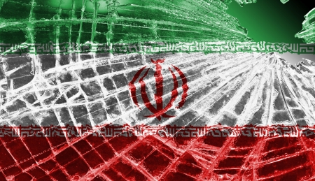 differential: Isolated broken glass or ice with a flag, Iran Stock Photo