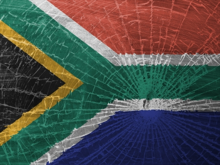 differential focus: Isolated broken glass or ice with a flag, South Africa