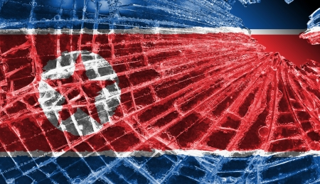 differential focus: Isolated broken glass or ice with a flag, North Korea