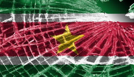 differential focus: Isolated broken glass or ice with a flag, Suriname