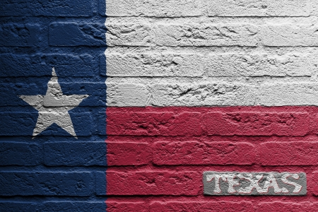 rancher: Brick wall with a painting of a flag isolated, Texas Stock Photo